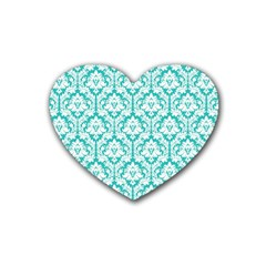 White On Turquoise Damask Drink Coasters 4 Pack (Heart)