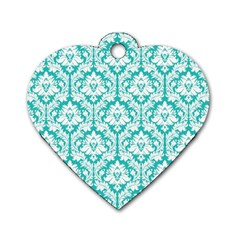 White On Turquoise Damask Dog Tag Heart (Two Sided)