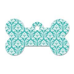 White On Turquoise Damask Dog Tag Bone (Two Sided)