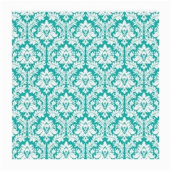 White On Turquoise Damask Glasses Cloth (Medium)
