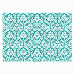 White On Turquoise Damask Glasses Cloth (Large, Two Sided)