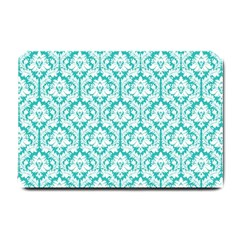 White On Turquoise Damask Small Door Mat