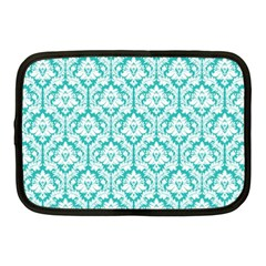 White On Turquoise Damask Netbook Sleeve (medium)