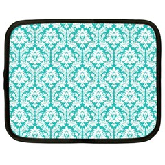 White On Turquoise Damask Netbook Sleeve (large)