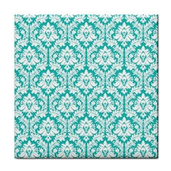 Turquoise Damask Pattern Face Towel