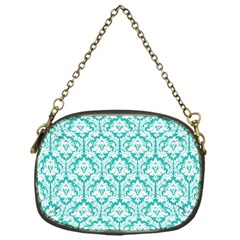 White On Turquoise Damask Chain Purse (One Side)