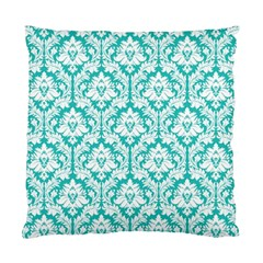 Turquoise Damask Pattern Standard Cushion Case (One Side)
