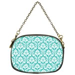 Turquoise Damask Pattern Chain Purse (Two Sides) Front
