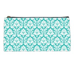 Turquoise Damask Pattern Pencil Case