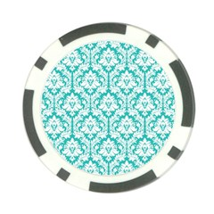 White On Turquoise Damask Poker Chip (10 Pack)