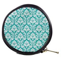 Turquoise Damask Pattern Mini Makeup Bag