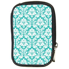 White On Turquoise Damask Compact Camera Leather Case