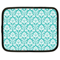 White On Turquoise Damask Netbook Sleeve (xl)