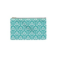 Turquoise Damask Pattern Cosmetic Bag (small)