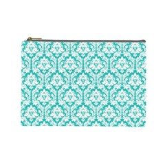 Turquoise Damask Pattern Cosmetic Bag (large)