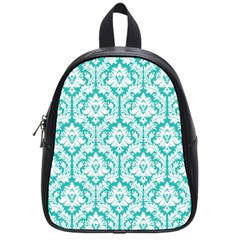 White On Turquoise Damask School Bag (small)