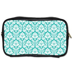 White On Turquoise Damask Travel Toiletry Bag (One Side)