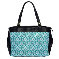 White On Turquoise Damask Oversize Office Handbag (one Side)
