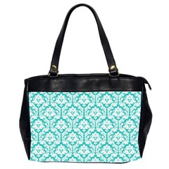 Turquoise Damask Pattern Oversize Office Handbag (2 Sides)