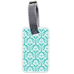 White On Turquoise Damask Luggage Tag (Two Sides)