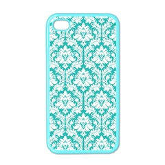 White On Turquoise Damask Apple Iphone 4 Case (color)
