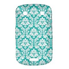 White On Turquoise Damask BlackBerry Bold Touch 9900 9930 Hardshell Case