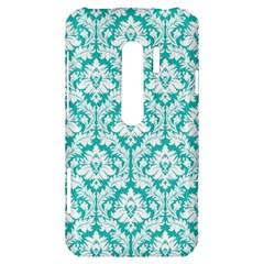 White On Turquoise Damask HTC Evo 3D Hardshell Case