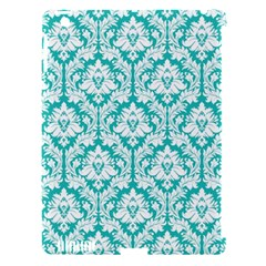 White On Turquoise Damask Apple Ipad 3/4 Hardshell Case (compatible With Smart Cover)