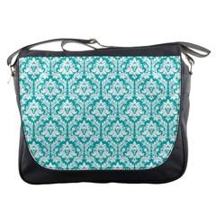 Turquoise Damask Pattern Messenger Bag