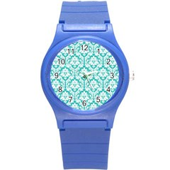 White On Turquoise Damask Plastic Sport Watch (small)
