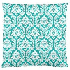 Turquoise Damask Pattern Large Cushion Case (Two Sides)