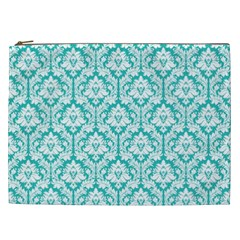 Turquoise Damask Pattern Cosmetic Bag (XXL)
