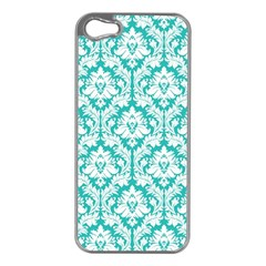 White On Turquoise Damask Apple Iphone 5 Case (silver)