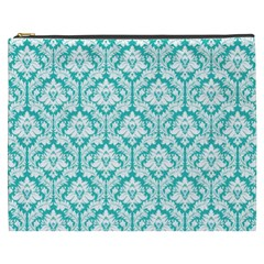 Turquoise Damask Pattern Cosmetic Bag (XXXL)