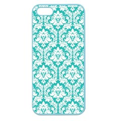 White On Turquoise Damask Apple Seamless Iphone 5 Case (color)