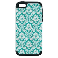 White On Turquoise Damask Apple Iphone 5 Hardshell Case (pc+silicone)