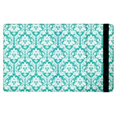 White On Turquoise Damask Apple iPad 3/4 Flip Case