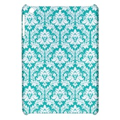 White On Turquoise Damask Apple iPad Mini Hardshell Case