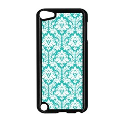 White On Turquoise Damask Apple Ipod Touch 5 Case (black)