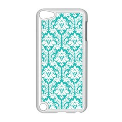 White On Turquoise Damask Apple Ipod Touch 5 Case (white)