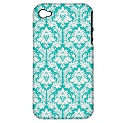 White On Turquoise Damask Apple iPhone 4/4S Hardshell Case (PC+Silicone)