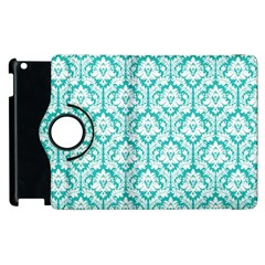 White On Turquoise Damask Apple iPad 3/4 Flip 360 Case