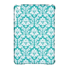 White On Turquoise Damask Apple iPad Mini Hardshell Case (Compatible with Smart Cover)