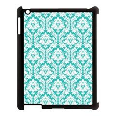 White On Turquoise Damask Apple iPad 3/4 Case (Black)