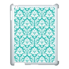 White On Turquoise Damask Apple Ipad 3/4 Case (white)