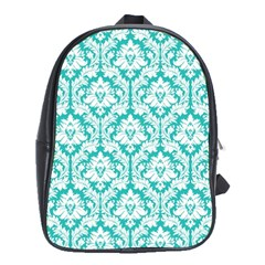 White On Turquoise Damask School Bag (XL)