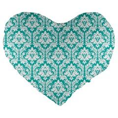 Turquoise Damask Pattern Large 19  Premium Heart Shape Cushion