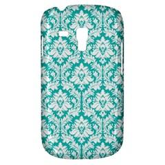 White On Turquoise Damask Samsung Galaxy S3 MINI I8190 Hardshell Case