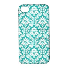 White On Turquoise Damask Apple Iphone 4/4s Hardshell Case With Stand