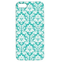 White On Turquoise Damask Apple Iphone 5 Hardshell Case With Stand